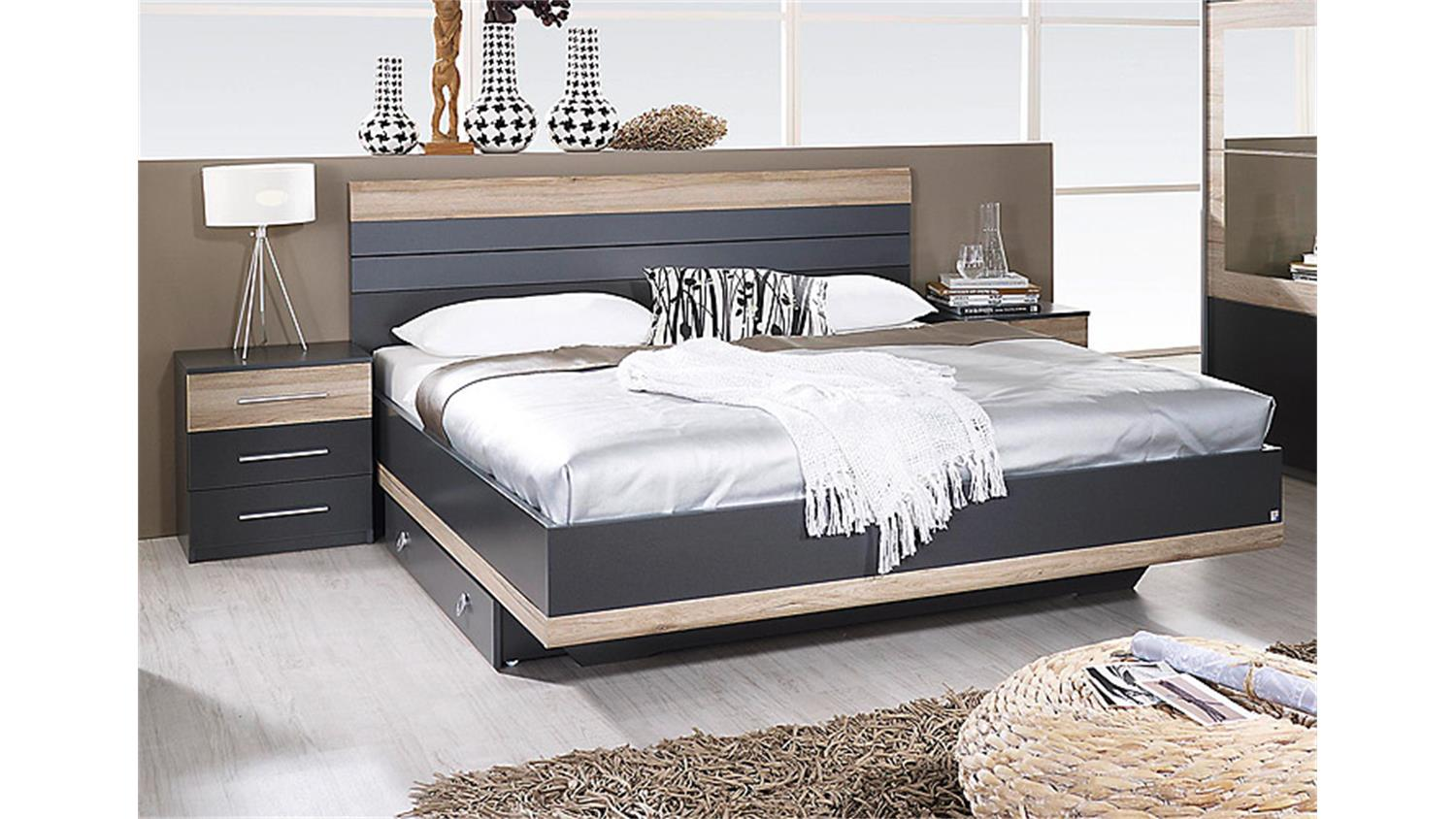 schlafzimmer set tarragona grau metallic eiche sanremo hell. Black Bedroom Furniture Sets. Home Design Ideas