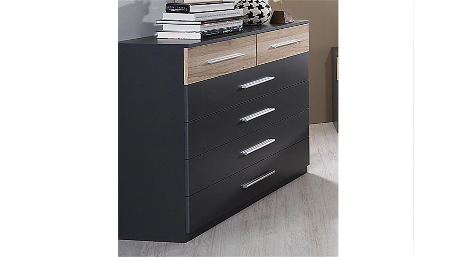kommode tarragona grau metallic und eiche sanremo hell. Black Bedroom Furniture Sets. Home Design Ideas