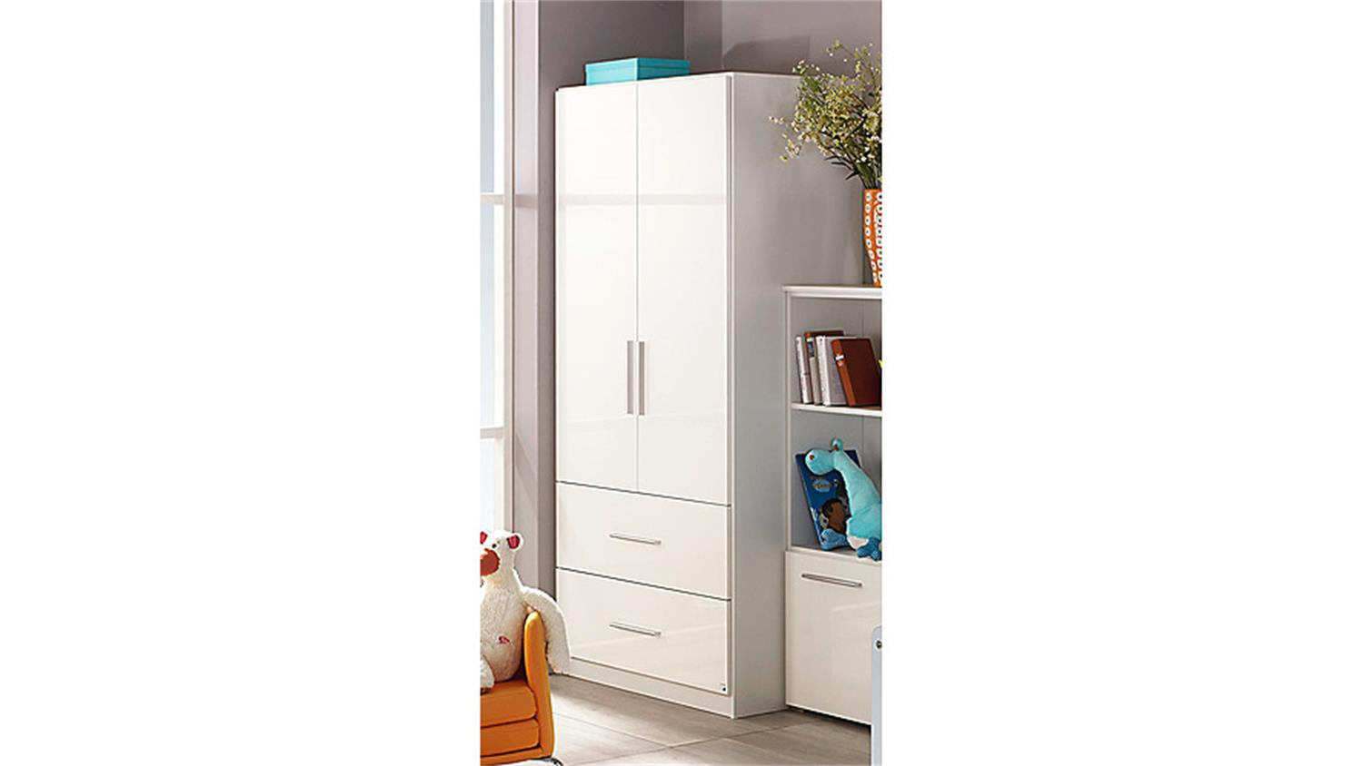 kleiderschrank manja wei hochglanz 2 t ren breite 91 cm. Black Bedroom Furniture Sets. Home Design Ideas