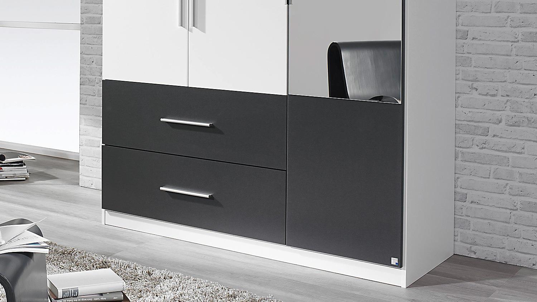 kleiderschrank alvor schrank in wei grau metallic mit spiegel 136 cm. Black Bedroom Furniture Sets. Home Design Ideas