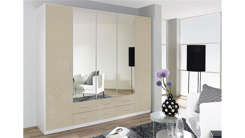 kleiderschrank hilden sandgrau hochglanz wei b 226 cm. Black Bedroom Furniture Sets. Home Design Ideas