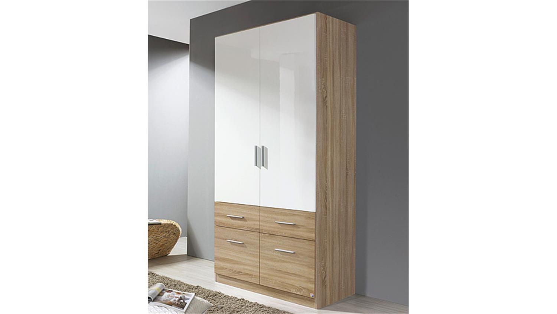 kleiderschrank celle extra wei hochglanz eiche sonoma. Black Bedroom Furniture Sets. Home Design Ideas