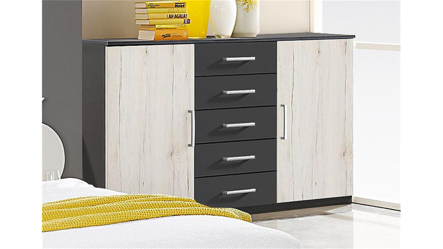 sideboard cartagena grau metallic san remo eiche wei. Black Bedroom Furniture Sets. Home Design Ideas