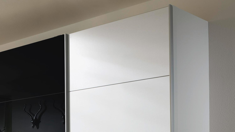 Schwebeturenschrank Quadra In Weiss Schwarz Glas 315x210