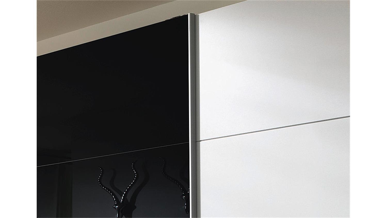 schwebet renschrank quadra wei glas schwarz 315 cm. Black Bedroom Furniture Sets. Home Design Ideas