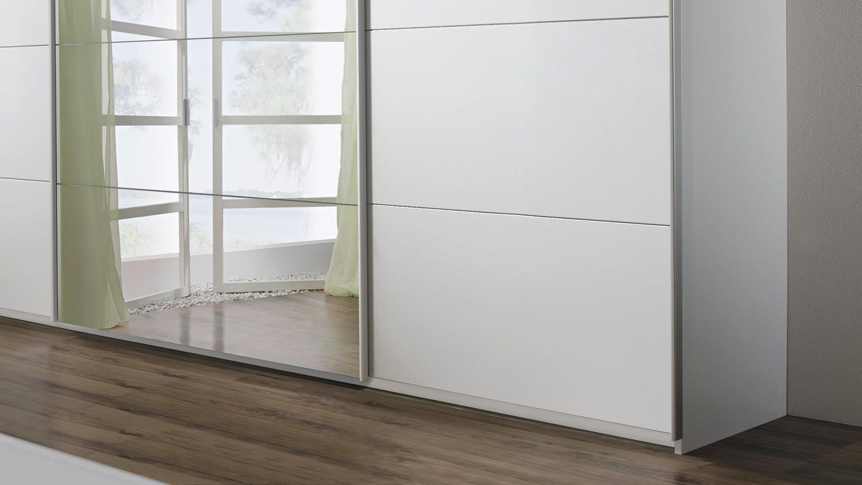 Schwebetürenschrank QUADRA Kleiderschrank in weiß Spiegel 315x210 cm