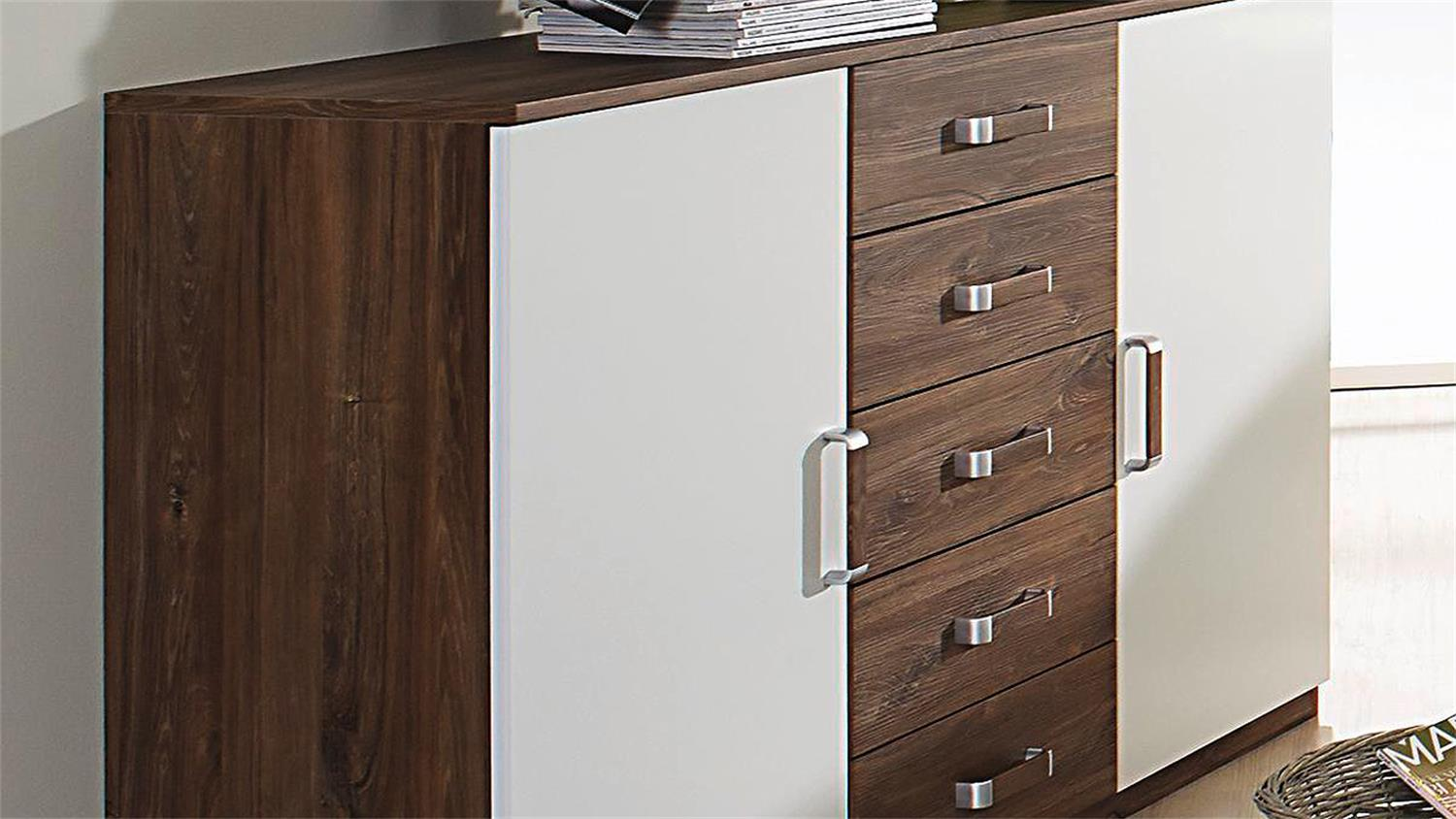 Sideboard Leimen Kombikommode Kommode In Weiss Eiche Stirling