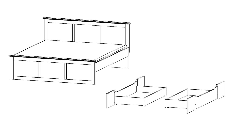 ROSENHEIM in alpinweiß inkl. Bettschubkasten 160x200