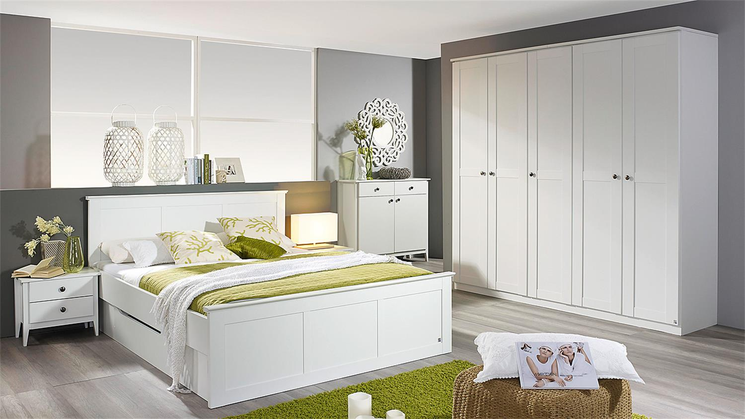 schlafzimmer 1 rosenheim bett schrank nachttisch in wei. Black Bedroom Furniture Sets. Home Design Ideas