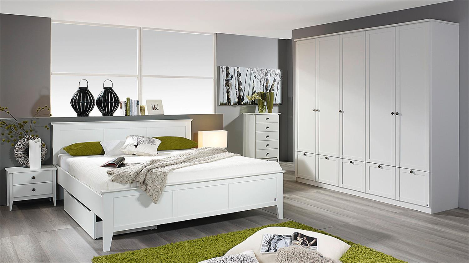 schlafzimmer rosenheim gera bett schrank nachttisch in wei. Black Bedroom Furniture Sets. Home Design Ideas