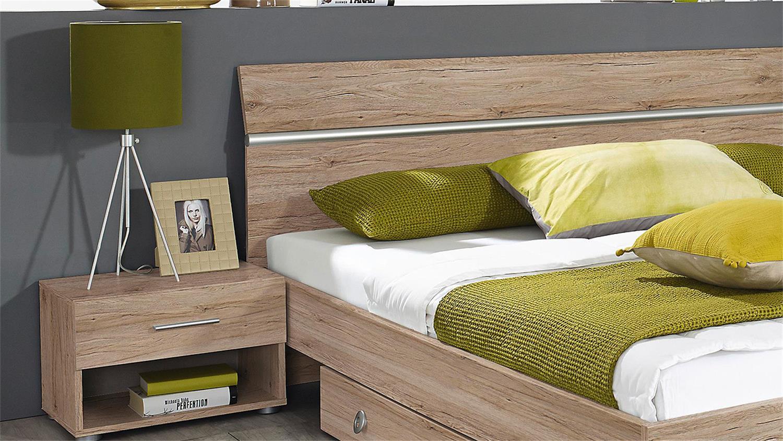 Superior Schlafzimmer Design Hell #12: Bettanlage FELLBACH Bett Nako San Remo Eiche Hell 160x200