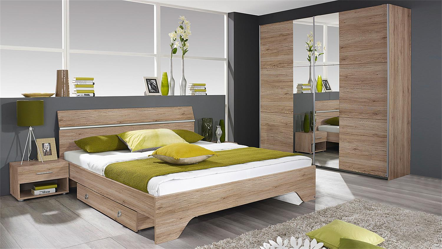 schlafzimmer fellbach bett schrank nako san remo eiche hell. Black Bedroom Furniture Sets. Home Design Ideas