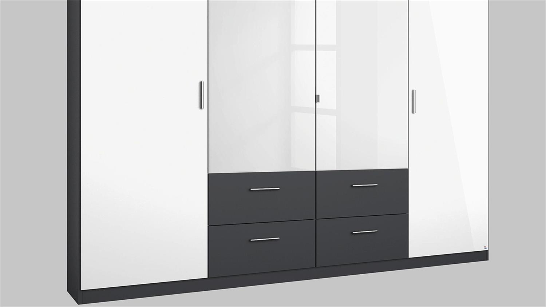 kleiderschrank passau in wei hochglanz grau metallic 226. Black Bedroom Furniture Sets. Home Design Ideas