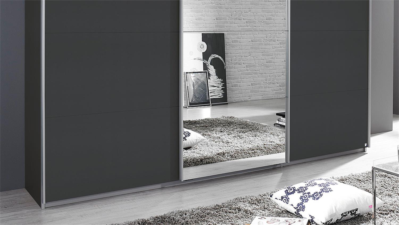 Schwebeturenschrank Kulmbach Grau Metallic Spiegel 271