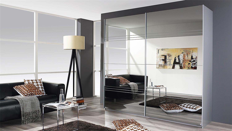Schwebetürenschrank spiegelfront  KOBLENZ alu gebürstet Spiegel 226