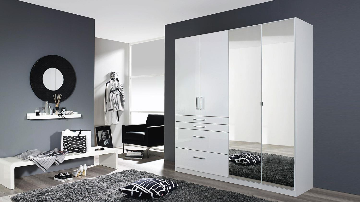 kleiderschrank homburg mit spiegel wei hochglanz b 181 cm. Black Bedroom Furniture Sets. Home Design Ideas