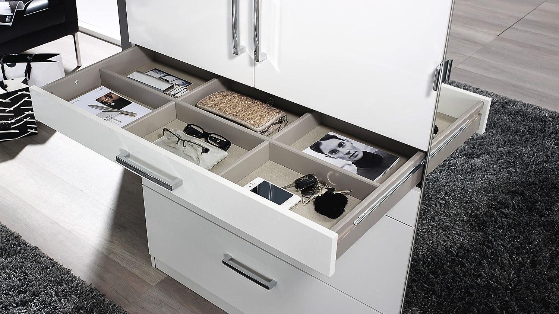 kleiderschrank homburg mit spiegel wei hochglanz b 181 cm. Black Bedroom Furniture Sets. Home Design Ideas