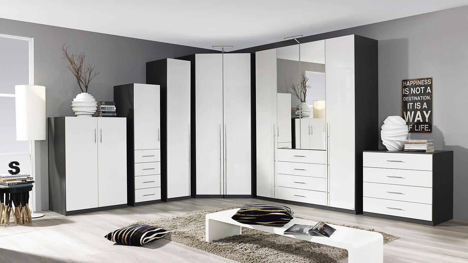 eckschrank elan schrank in wei hochglanz und graphit. Black Bedroom Furniture Sets. Home Design Ideas