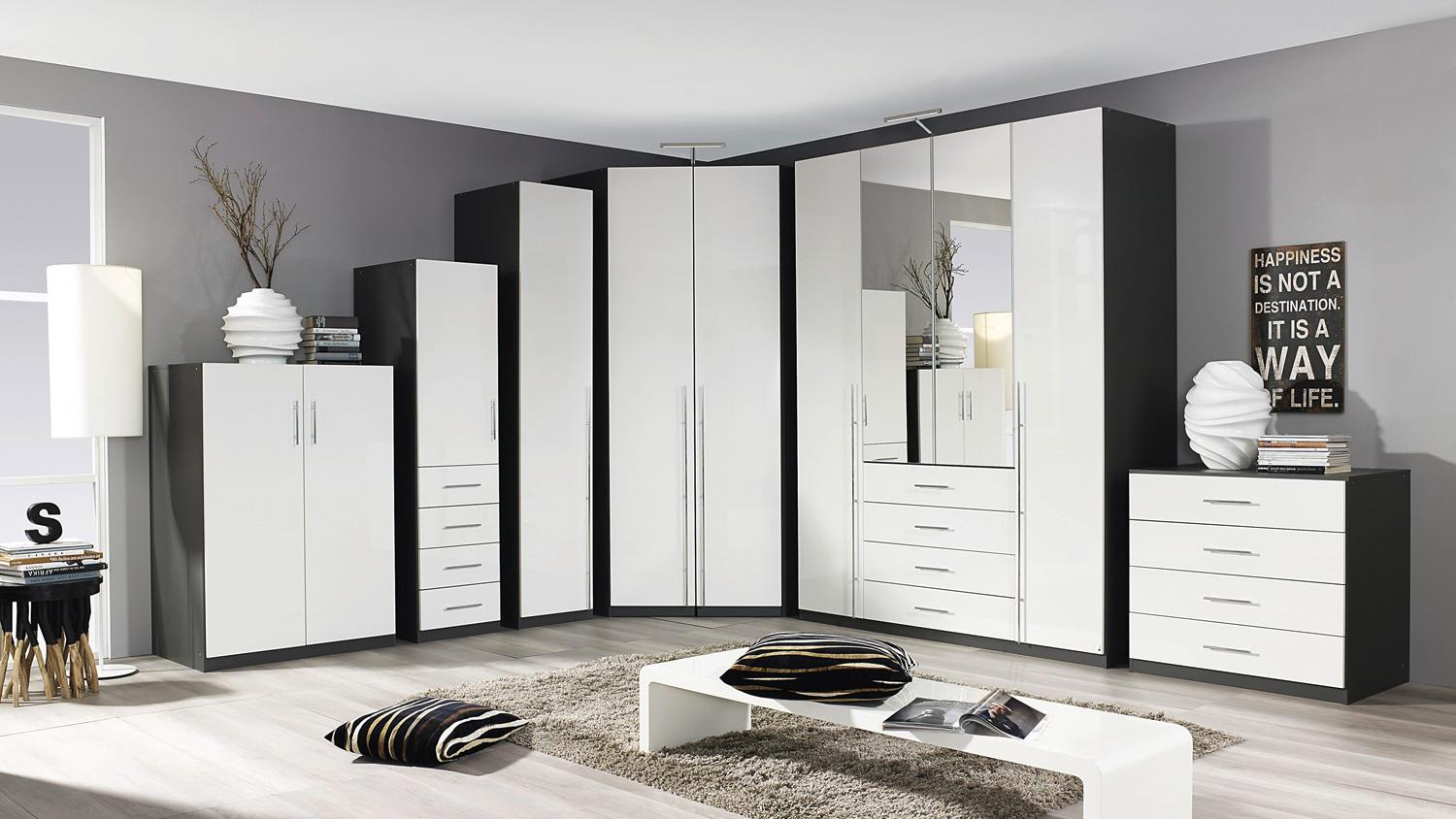kleiderschrank elan schrank in wei hochglanz und graphit. Black Bedroom Furniture Sets. Home Design Ideas
