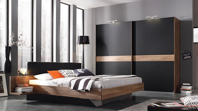 schlafzimmer calgary bett schrank eiche stirling schwarz. Black Bedroom Furniture Sets. Home Design Ideas