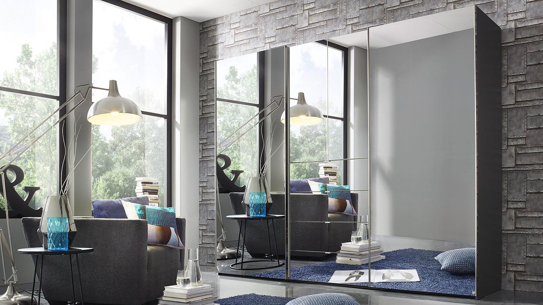 kleiderschrank baylando 4 schrank in graphit mit spiegel. Black Bedroom Furniture Sets. Home Design Ideas