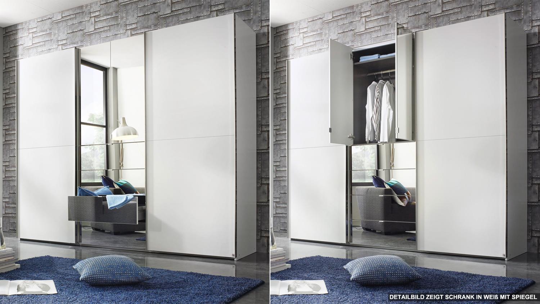 Kleiderschrank BAYLANDO 6 in weiß und schwarz Hochglanz mit Spiegel ~ Kleiderschrank Weiß Hochglanz Mit Spiegel
