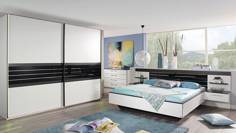 Schlafzimmer Set COLEEN in weiß graphit Basaltglas mit LED