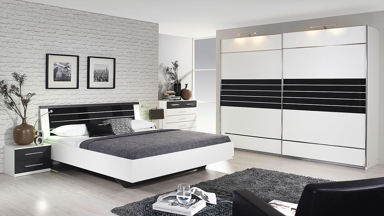 bett nienburg in wei grau metallic mit glas in basalt 180. Black Bedroom Furniture Sets. Home Design Ideas