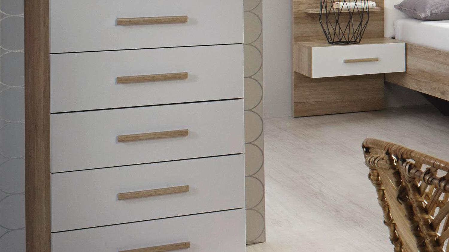 kommode mosbach schubkommode in sanremo eiche hell wei. Black Bedroom Furniture Sets. Home Design Ideas