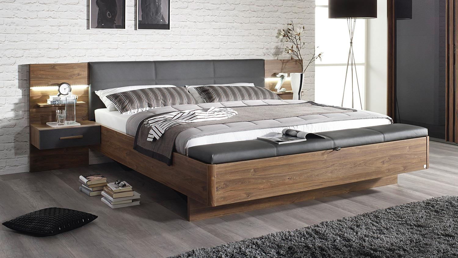 bettanlage mosbach bett eiche stirling grau metallic led 180. Black Bedroom Furniture Sets. Home Design Ideas