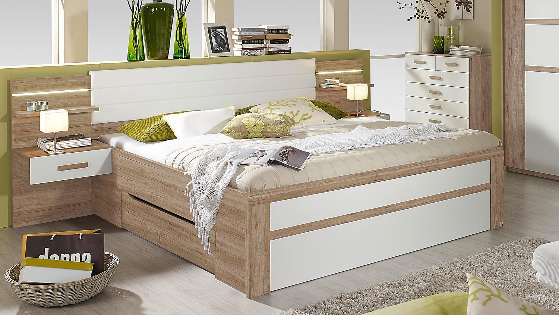 bettanlage bernau bett nako eiche sanremo hell wei 180. Black Bedroom Furniture Sets. Home Design Ideas