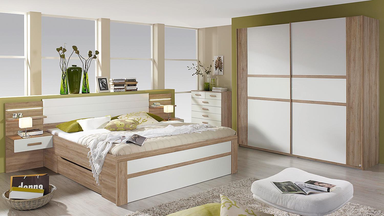 schlafzimmer set bernau in eiche sanremo hell und wei. Black Bedroom Furniture Sets. Home Design Ideas
