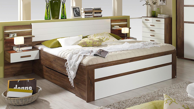 bettanlage bernau bett nako eiche stirling und wei 180. Black Bedroom Furniture Sets. Home Design Ideas
