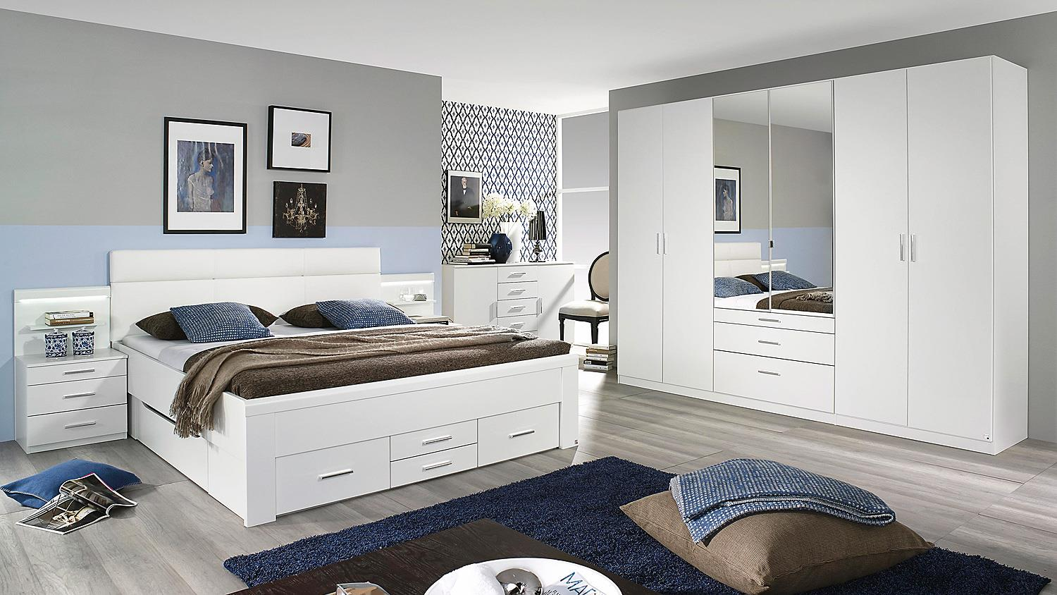 nachtkommode 2er set friedberg kommode nako wei mit led. Black Bedroom Furniture Sets. Home Design Ideas
