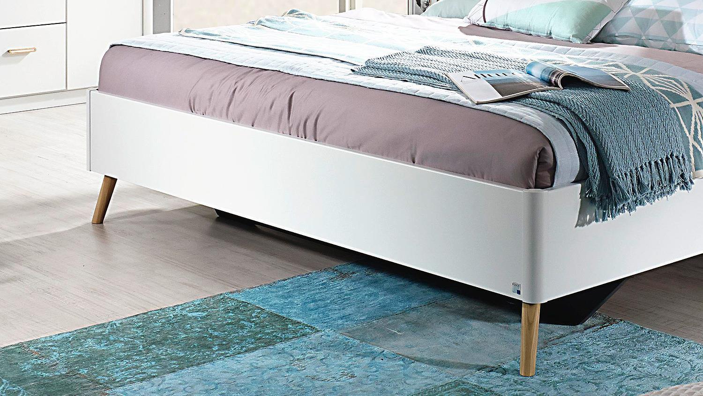 Bett Kolding Doppelbett für Schlafzimmer weiß Coimbra Esche massiv 180