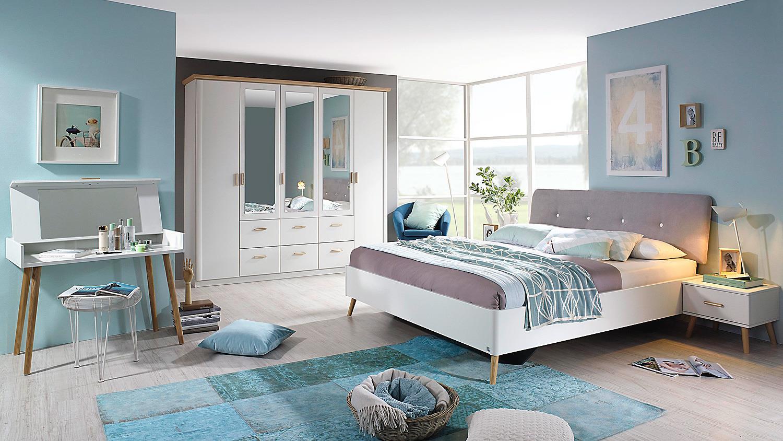 Kolding Doppelbett für Schlafzimmer weiß Coimbra Esche massiv 180