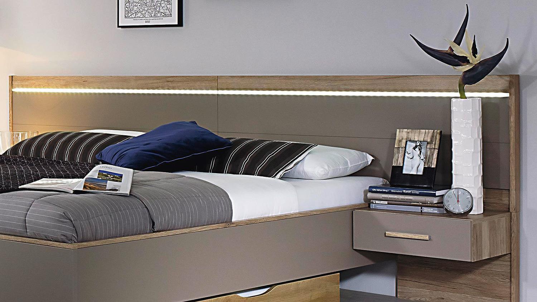 ULM Bett mit Nachtkommoden fango Eiche Sanremo hell mit LED