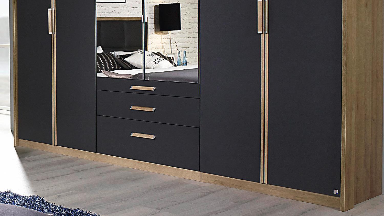 schlafzimmer set 2 altona bett nako schrank grau und eiche riviera. Black Bedroom Furniture Sets. Home Design Ideas