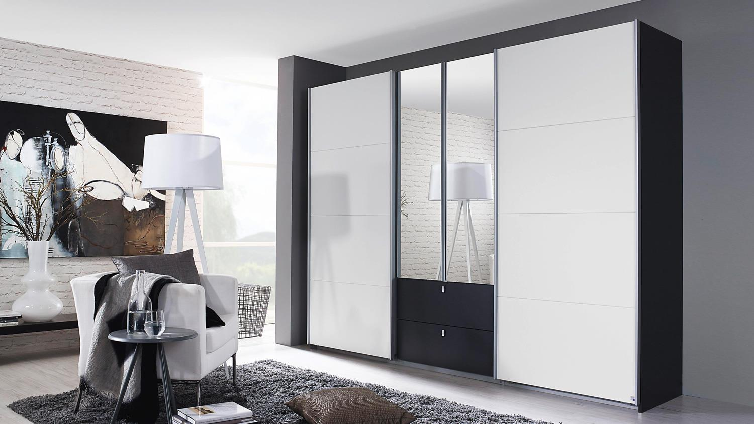 schwebet renschrank kombino kleiderschrank in grau wei spiegel 226. Black Bedroom Furniture Sets. Home Design Ideas