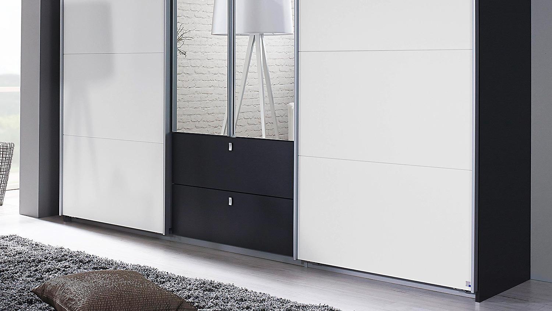 Schwebetürenschrank KOMBINO Kleiderschrank in grau weiß Spiegel 226