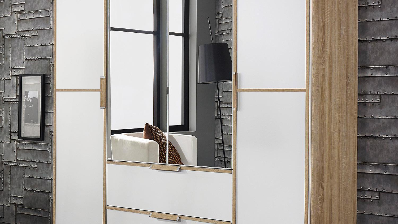 schwebet renschrank essensa schrank wei glas sonoma eiche spiegel 181. Black Bedroom Furniture Sets. Home Design Ideas
