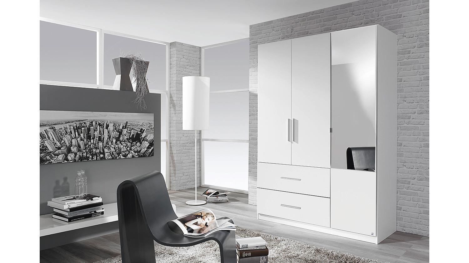 kleiderschrank alvor schrank f r schlafzimmer wei mit spiegel 136 cm. Black Bedroom Furniture Sets. Home Design Ideas