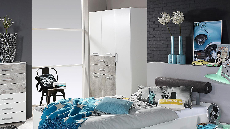Kleiderschrank MAILO Schrank für Jugendzimmer in weiß und Beton 136