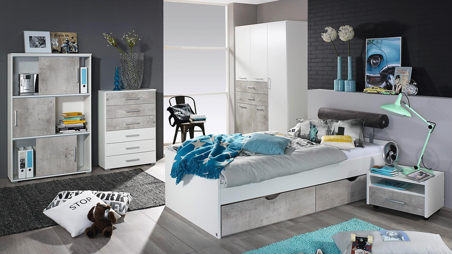 jugendzimmer set 1 mailo kinderzimmer bett schrank nako wei und beton. Black Bedroom Furniture Sets. Home Design Ideas