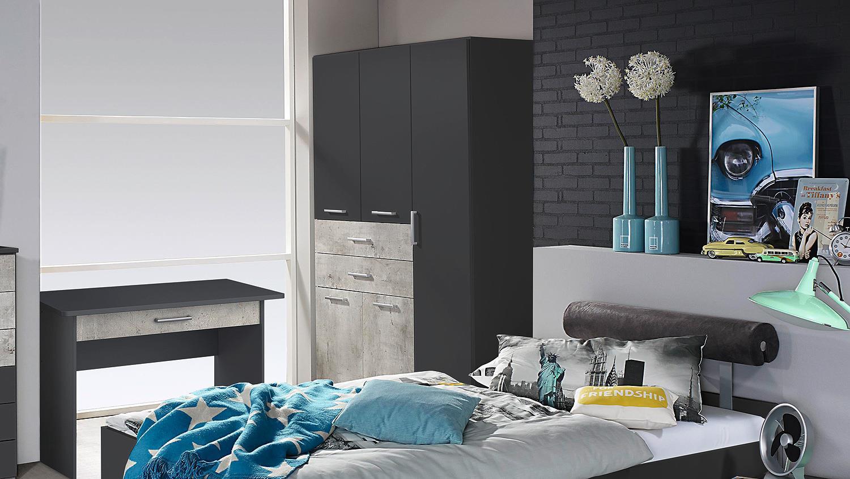 Kleiderschrank Mailo Schrank Jugendzimmer Grau Metallic Und Beton 136