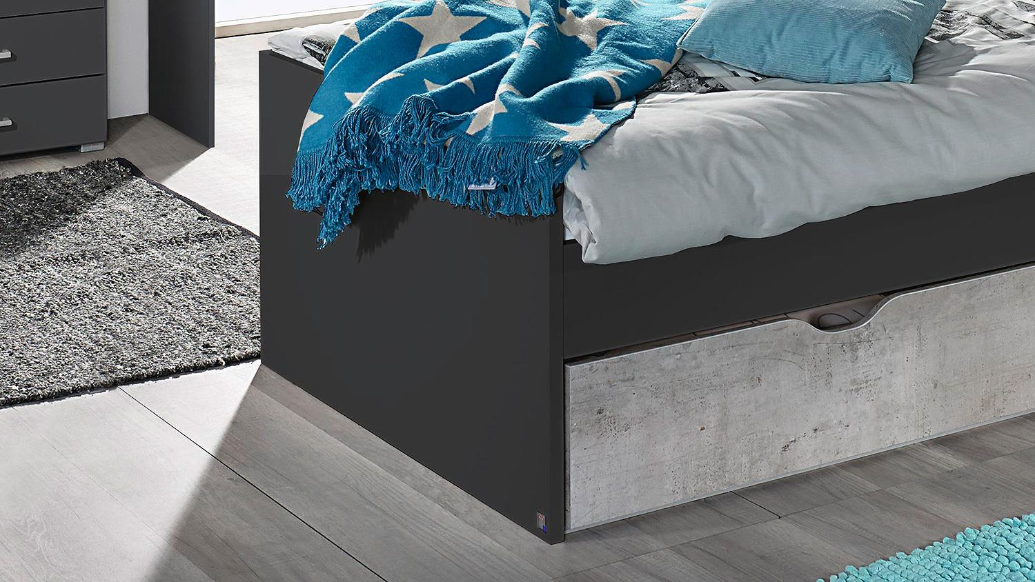 bett mailo umbauliege liege f r jugendzimmer in grau metallic 90x200. Black Bedroom Furniture Sets. Home Design Ideas