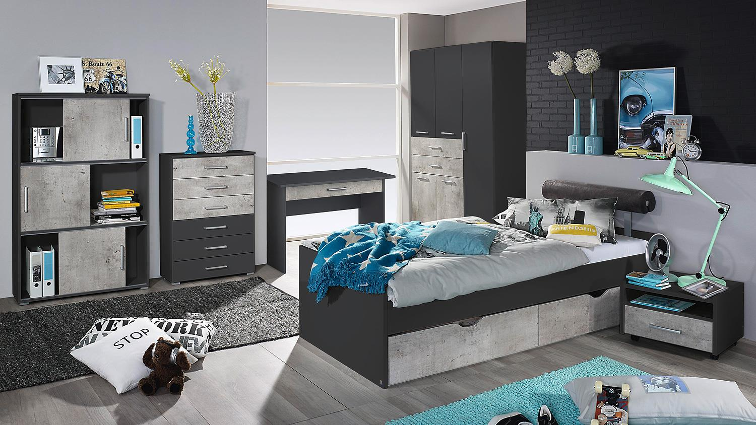 bett mailo umbauliege liege f r jugendzimmer in grau. Black Bedroom Furniture Sets. Home Design Ideas