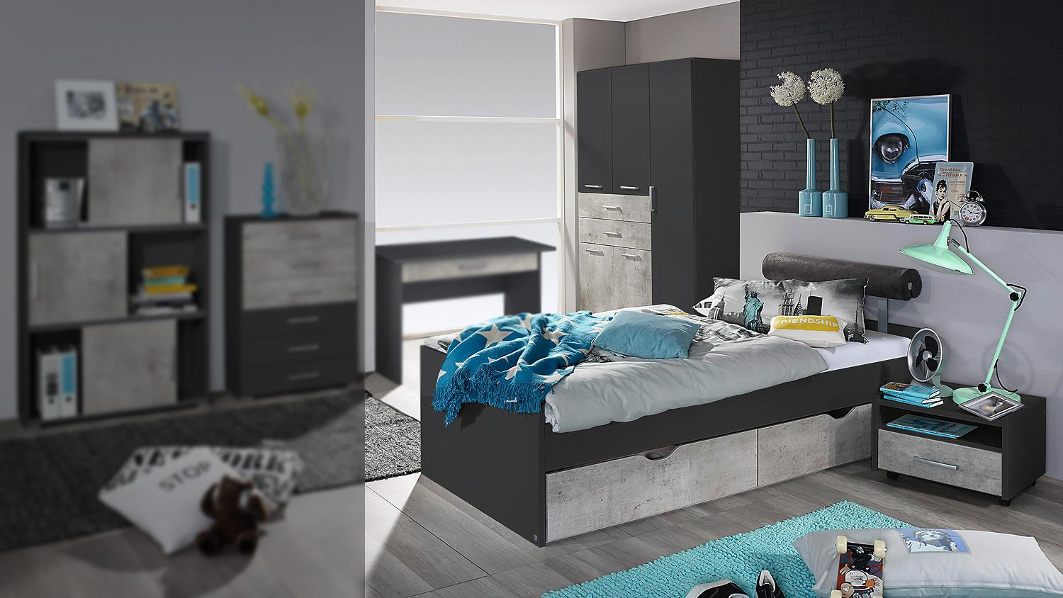 jugendzimmer set 1 mailo bett schrank nako in grau metallic und beton. Black Bedroom Furniture Sets. Home Design Ideas