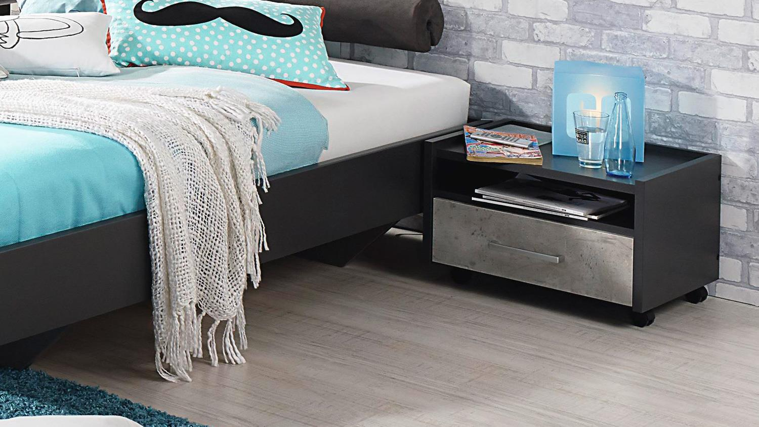 jugendzimmer set 2 mailo bett schrank nako in grau metallic und beton. Black Bedroom Furniture Sets. Home Design Ideas