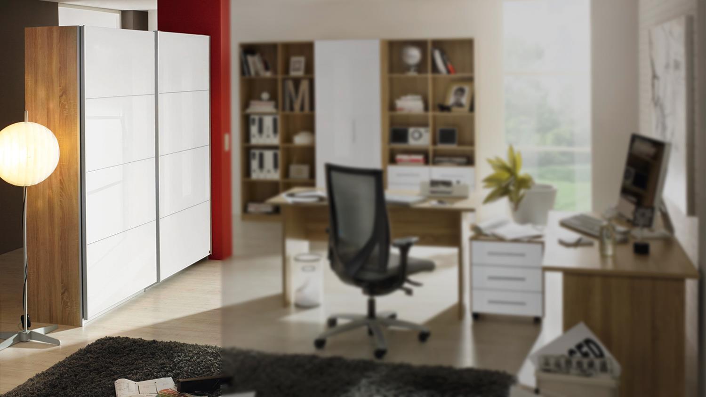aktenschrank minosa schwebet renschrank in wei hochglanz sonoma eiche. Black Bedroom Furniture Sets. Home Design Ideas